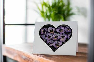 Pansy Valentine -  Floral Watercolor Art Print - Handmade Note Card