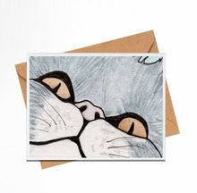 Load image into Gallery viewer, Peeking Cat - Pet Inspired Watercolor Print - Handmade Note Card