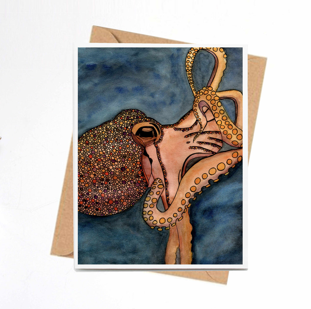 Tentacles Octopus Sealife Original Watercolor Print - Kraft Handmade Note Card