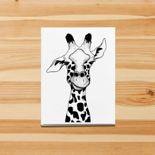 Load image into Gallery viewer, Irritated - Funny Giraffe Inspired Ink Drawing Art Print - Handmade Note Card