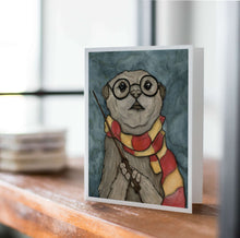 Load image into Gallery viewer, Harry Otter - Wizard Inspired Watercolor Art Print - Handmade Note Card