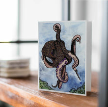 Load image into Gallery viewer, Octopus Traveler - Nautical Inspired Watercolor Art Print - Handmade Note Card