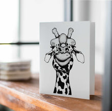 Load image into Gallery viewer, Papa Giraffe - Funny Giraffe Inspired Ink Drawing Art Print - Handmade Note Card
