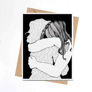 Virtual Hug - Friendship Inspired Ink Drawing Print - Handmade Note Card