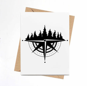 Tree Ridge Compass -PNW Inspired Ink Drawing Card - Handmade Note Card