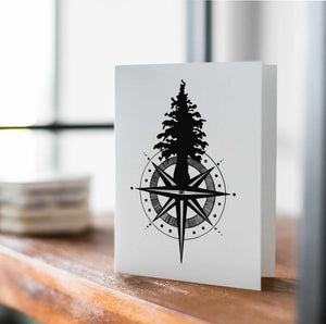 Tall Tree Compass -PNW Inspired Ink Drawing Card - Handmade Note Card