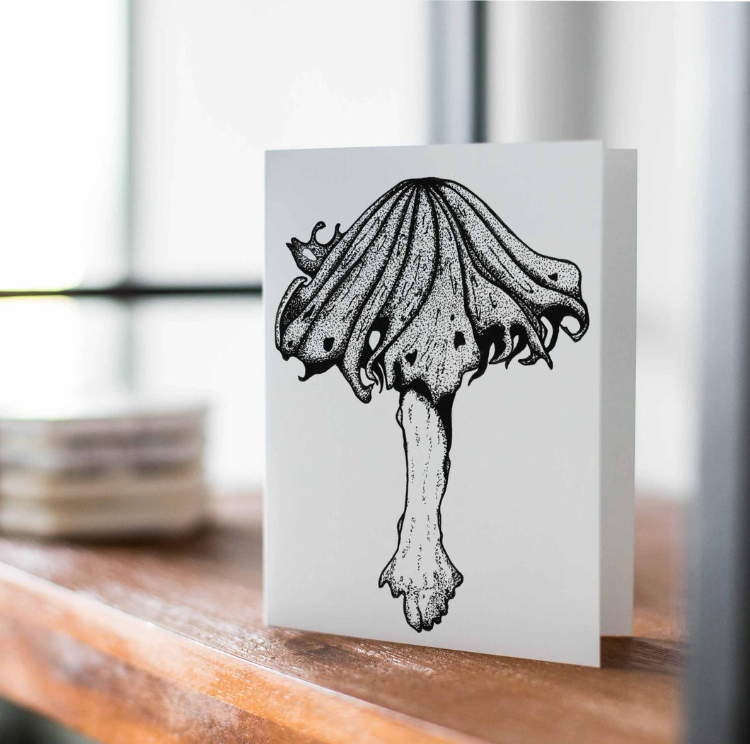 Alcohol Inky Mushroom - Fungi Inspired Ink Drawing Card - Handmade Note Card