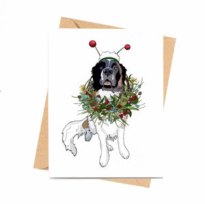 Puppy Wreath - St. Bernard Inspired Digital Painting- Handmade Note Card