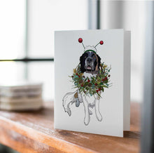 Load image into Gallery viewer, Puppy Wreath - St. Bernard Inspired Digital Painting- Handmade Note Card