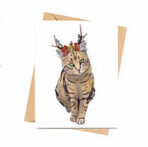 Jackalope Beauty - Cat Inspired Digital Painting- Handmade Note Card