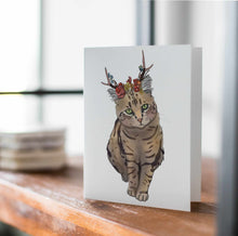 Load image into Gallery viewer, Jackalope Beauty - Cat Inspired Digital Painting- Handmade Note Card