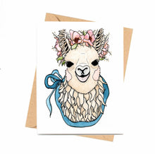 Load image into Gallery viewer, Mamma Llama - Cute Llama Inspired Watercolor Art Print - Handmade Note Card