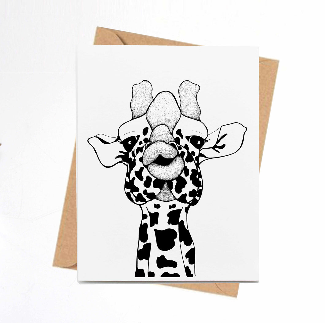 Kissy Face - Funny Giraffe Inspired Ink Drawing Art Print - Handmade Note Card