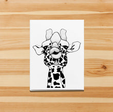 Load image into Gallery viewer, Kissy Face - Funny Giraffe Inspired Ink Drawing Art Print - Handmade Note Card