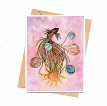 Load image into Gallery viewer, Pisces - Astrology Inspired Watercolor Art Print - Handmade Note Card