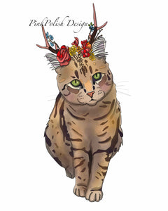 Jackalope Beauty - Pretty Kitty Inspired Digital Painting - Art Print