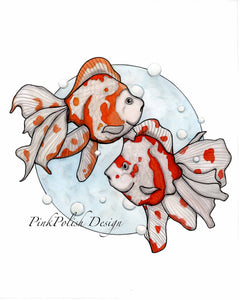 Summer Swim - Goldfish Inspired Watercolor Painting - Art Print