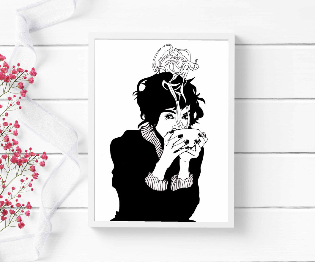 But First, Coffee - Caffeine Inspired Ink Drawing - Art Print