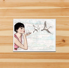 Load image into Gallery viewer, Paper Crane - Magic Inspired Watercolor Print - Handmade Note Card