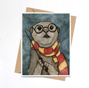 Harry Otter - Wizard Inspired Watercolor Art Print - Handmade Note Card