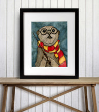 Load image into Gallery viewer, Harry Otter - Wizard Inspired Watercolor Painting - Art Print