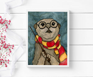 Harry Otter - Wizard Inspired Watercolor Painting - Art Print