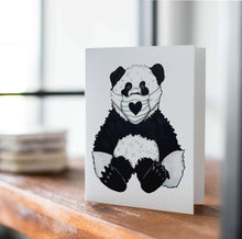 Load image into Gallery viewer, Panda-mic Bear - Pandemic Inspired Watercolor Art Print - Handmade Note Card