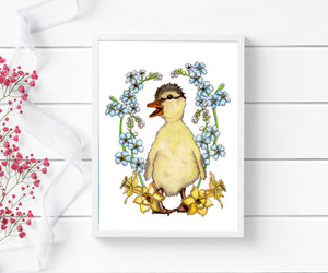 Just Ducky - Springtime Inspired Watercolor Painting - Art Print