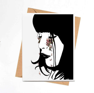 Beautiful Tears - Magic Inspired Ink Drawing - Handmade Note Card