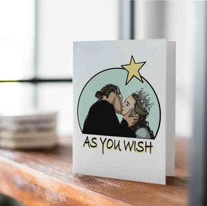 As You Wish - Valentine Inspired Digital Drawing - Handmade Note Card
