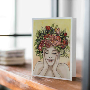 Giddy - Springtime Inspired Watercolor - Handmade Note Card