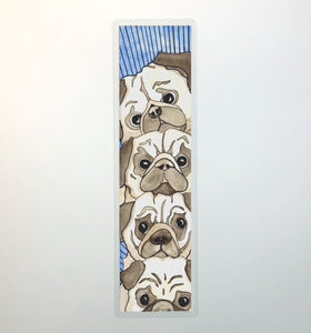 Pile of Pugs, 2-Sided Bookmark - Puppy Inspired Watercolor Painting Art Print
