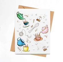 Load image into Gallery viewer, Tea Time - Teapot Inspired Watercolor - Handmade Note Card