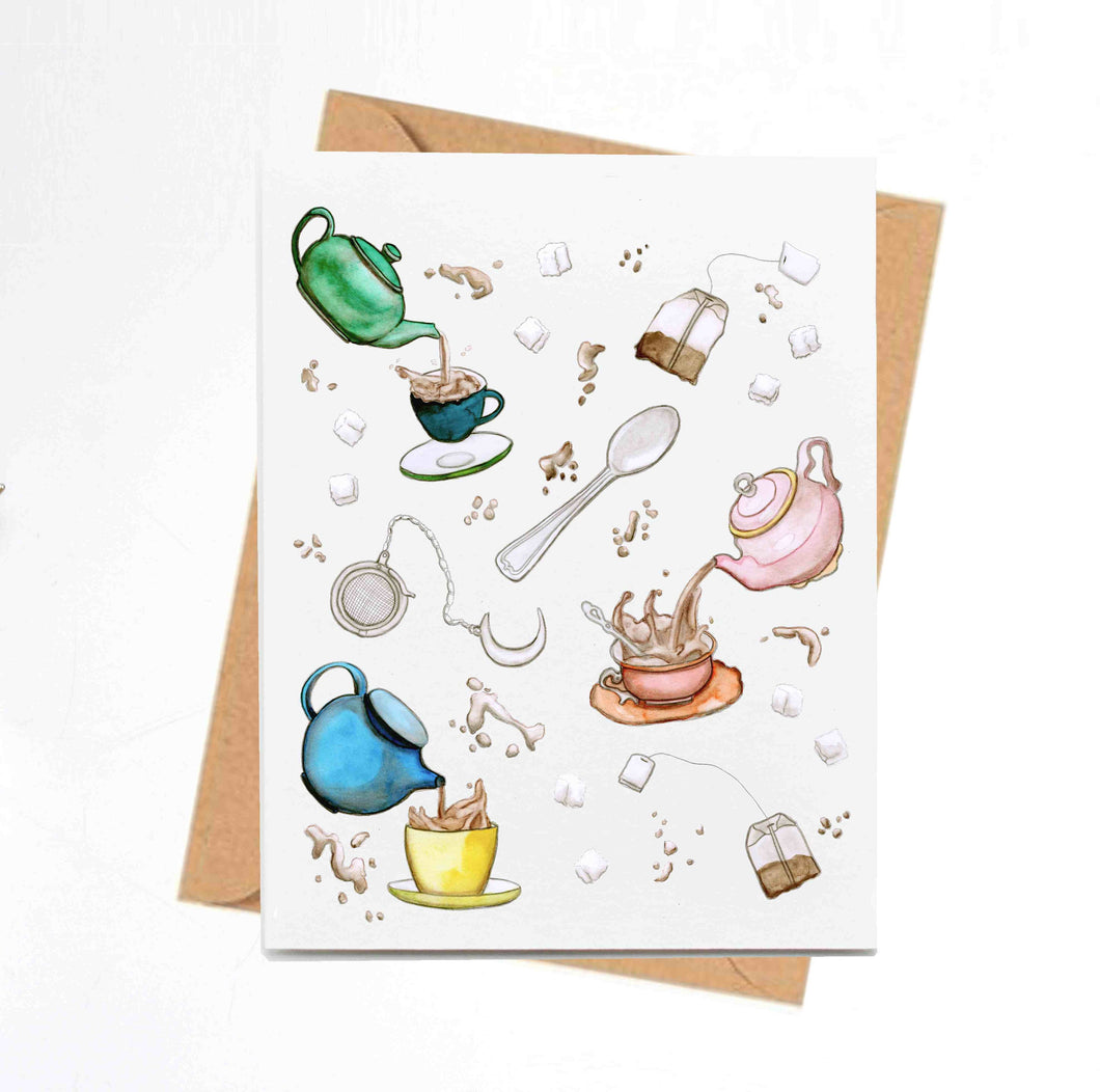 Tea Time - Teapot Inspired Watercolor - Handmade Note Card