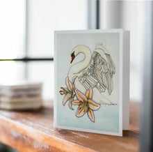 Load image into Gallery viewer, Swan Song - Swan Inspired Watercolor Art Print - Handmade Note Card