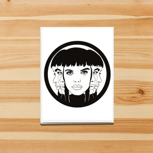 Multifaceted - Strong Woman Inspired Digital Ink Drawing Art Print - Handmade Note Card