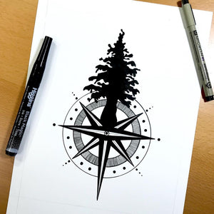 Tall Tree Compass - Pacific Northwest Inspired Original Ink Illustration