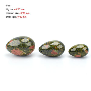 Yoni Egg Massager Natural Unakite Stone Drilled Jade Eggs Carved Ben Wa Ball for Women Kegel Exercise Vaginal Muscle Tighten