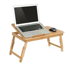 Load image into Gallery viewer, Portable Folding Bamboo Laptop Table Sofa Bed Office Desk with Fan Bed Table for Computer Books Laptop Stand  Draft