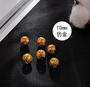 50pcs/lot  Gold Silver Antique Bronze Hollow Filigree Metal Beads 6 8 10 12 14mm Round Charm Spacer Beads DIY Jewelry Making