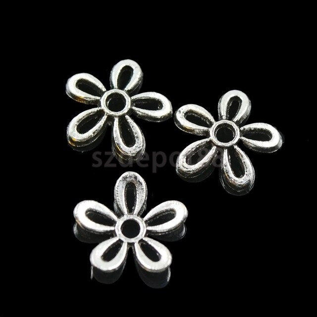 100Pcs Tibetan Silver Filigree Daisy Cap Spacers Charms Jewelry DIY Findings