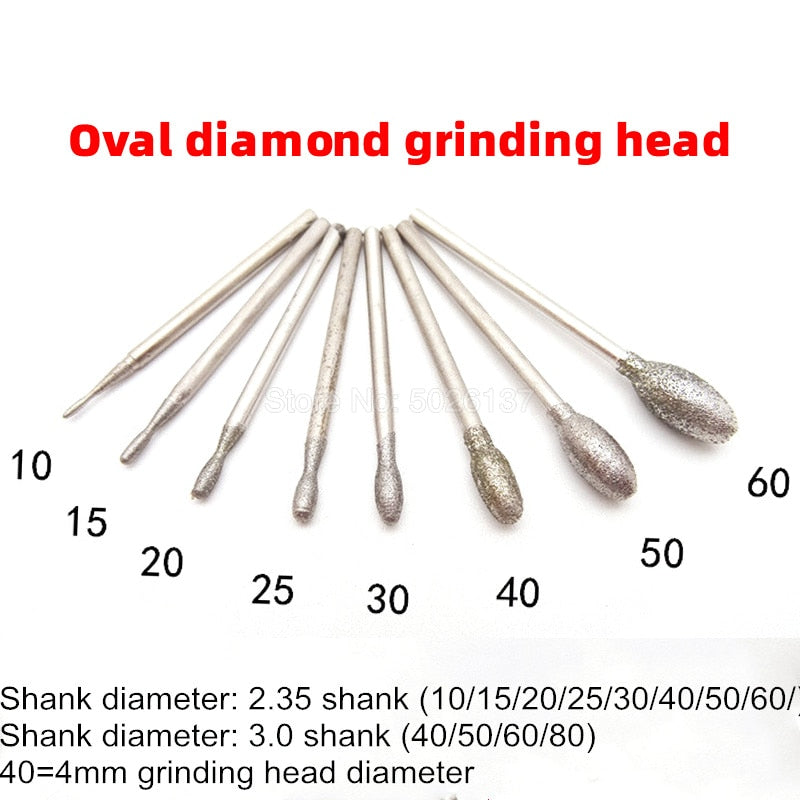 1Pcs Oval Diamond Polishing Grinding Head Burrs Bits Shank Jade Stone Carving Engraving Tool Drill Coated Bit Points