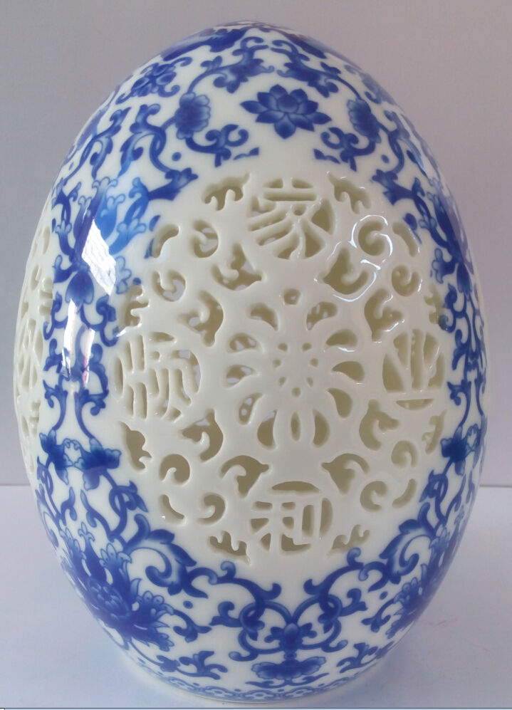 archaize chinese blue and white porcelain porcelain Egg shape Openwork carving
