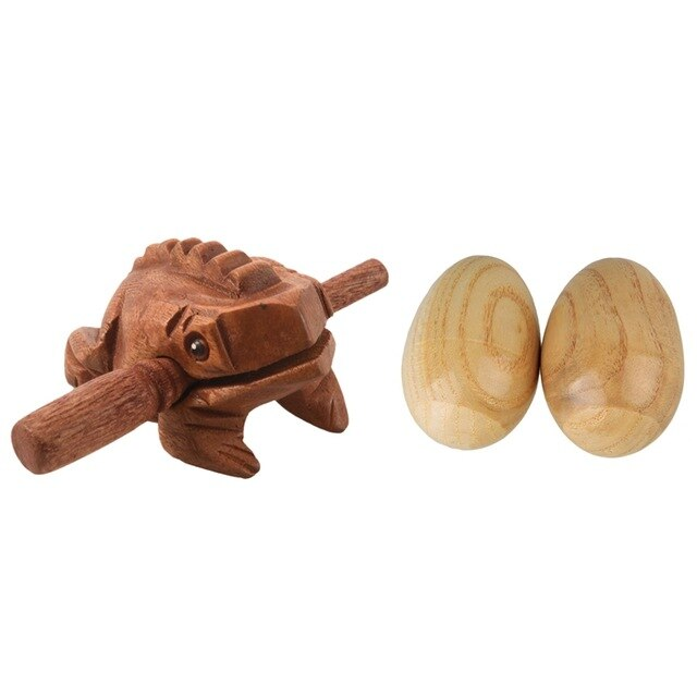1 Pcs Carved Croaking Wood Percussion Musical Sound Wood Frog Tone Block Toy & 2 Pcs Musical Percussion Instruments Wooden Egg S