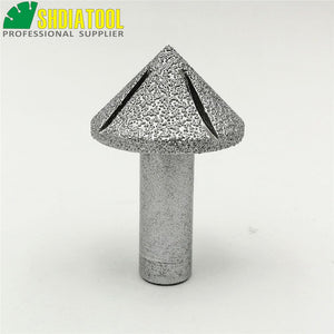 "SHDIATOOL No.15 Cone Type Brazed Diamond Router Bits With 1/2"" Shank For Slab Edge Profile Staight Knife Router Cutter For Stone"