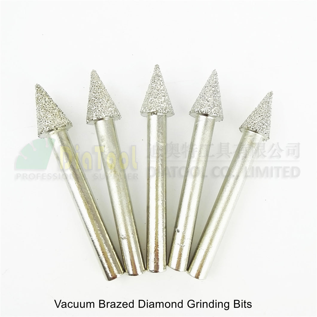 DIATOOL 5pcs #19 Vacuum Brazed Diamond Grinding Bits Burrs Carving Tool Cone Mounted Pints
