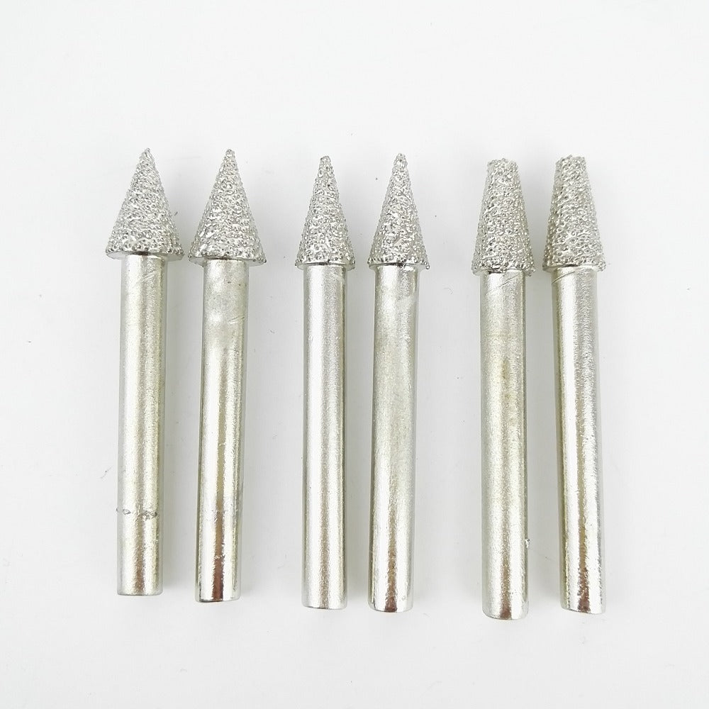 DIATOOL 6pcs #18/19/20 Diamond Carving Bits, Cone Type Mounted Points Vaccum Brazed Diamond Burrs, Shank 6mm Grit 46