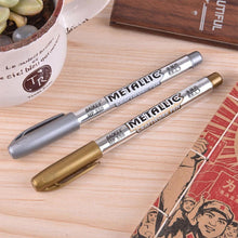 Load image into Gallery viewer, 1.5mm DIY Metal Waterproof Permanent Paint Marker Pens Gold And Silver Marker Craftwork Pens For Drawing School Stationery
