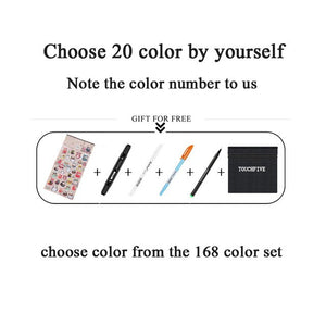 TouchFIVE Art Markers Sets Alcohol Ink 30/40/60/80/168 Colors Anime Student Design Sketch Manga Alcohol Marker Pen for Drawing
