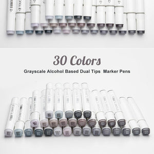 TouchNew Art Marker Double-Ended Alcohol Based Ink Neutral Gray Color Sketch Gray Tones for Graphic Drawing